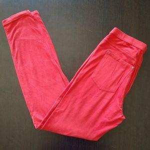 Hue Microsuede Orange Red Leggings